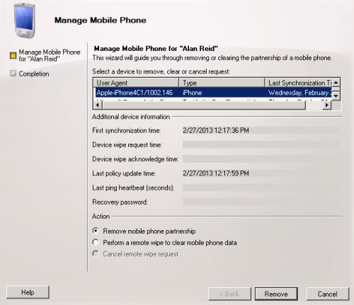 remove mobile device