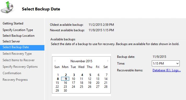 exchange  recovery database