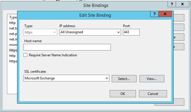 exchange website ssl binding