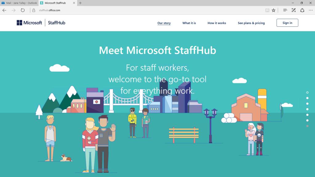 staffhub landing page