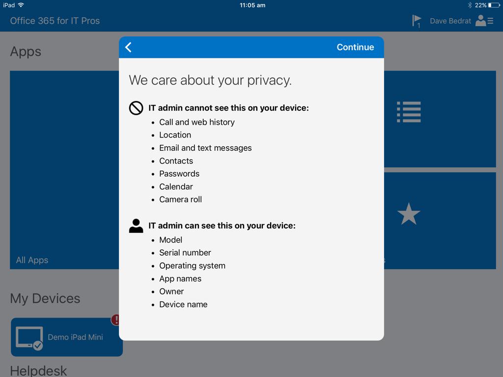 intune enrolment privacy info ios