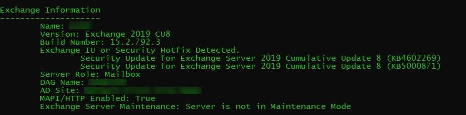 Output of the Exchange Health Checker script