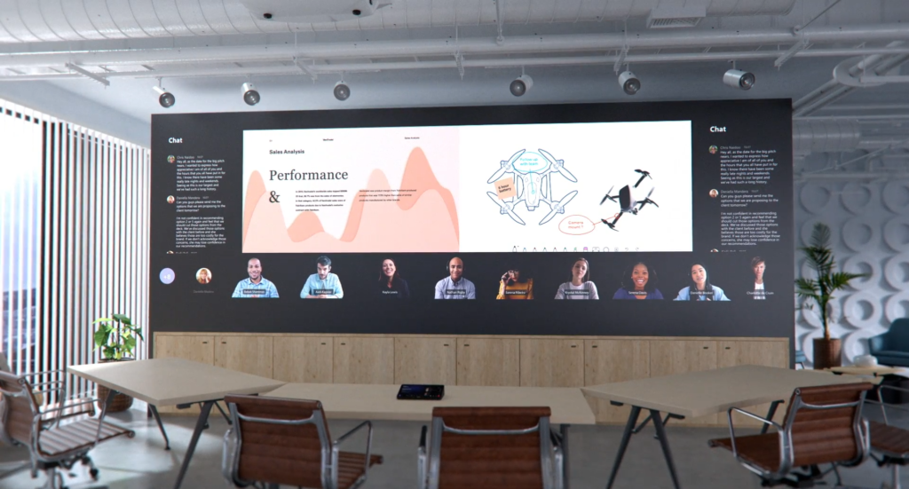 Microsoft Ignite shows the future vision of meetings with a large meeting room screen