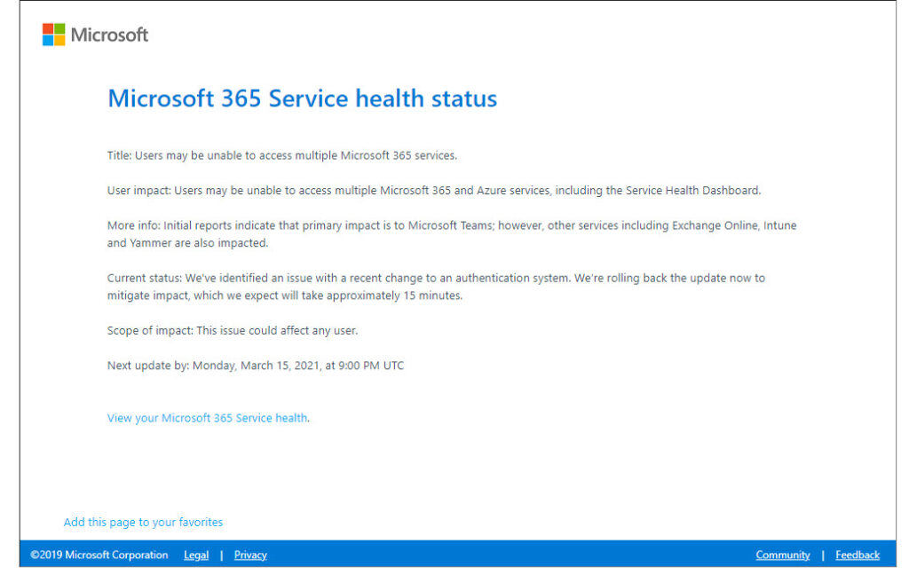 Microsoft 365 service health status page