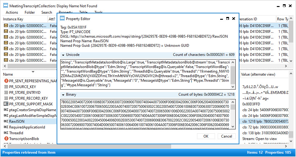 A Teams transcript item stored in an Exchange Online mailbox viewed through MFCMAPI