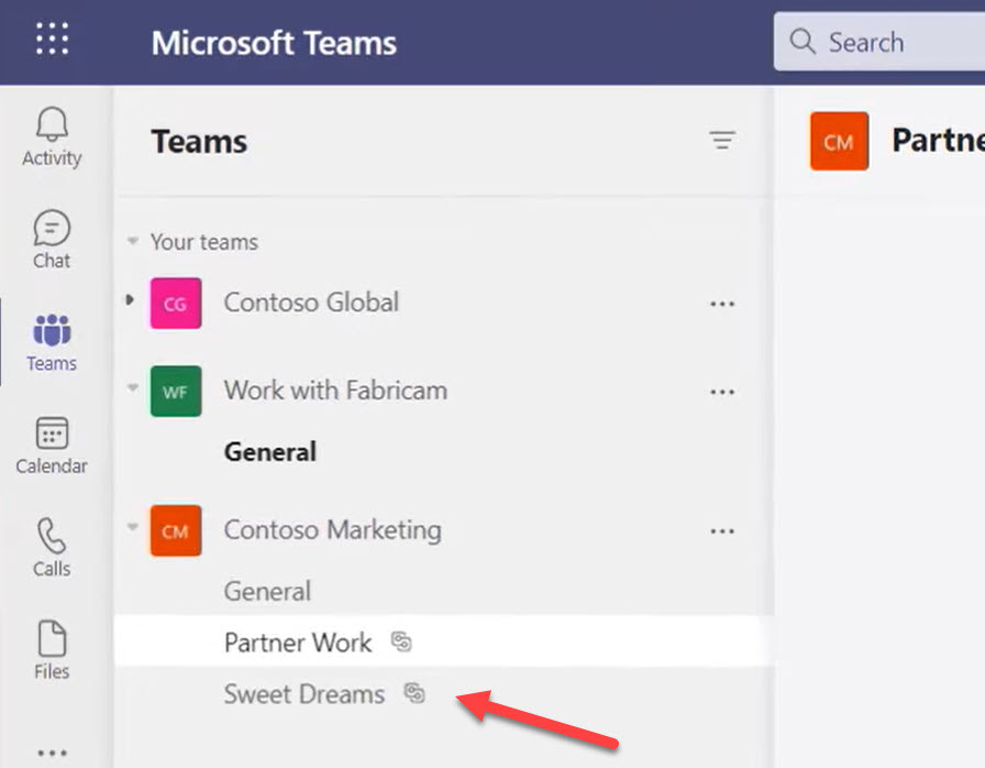 Shared channels in the Teams navigation pane have a different icon