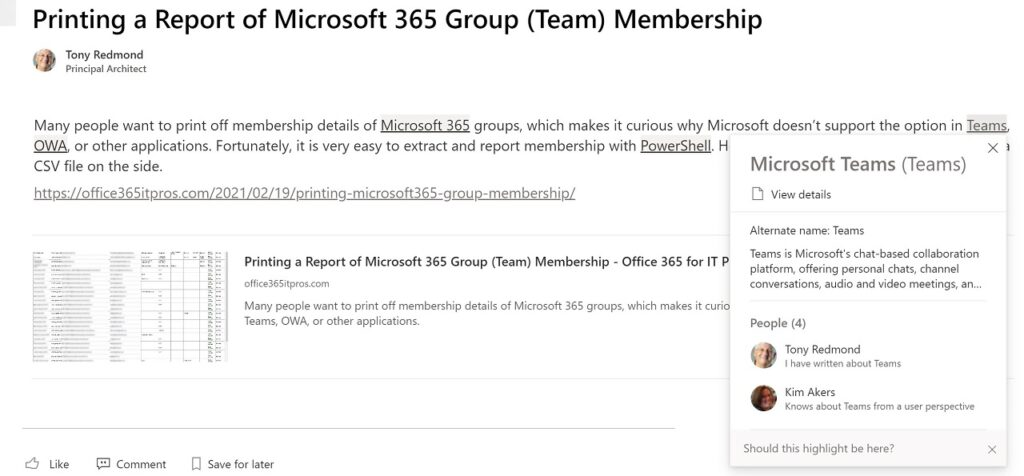 Topics show up in the SharePoint news item when viewed