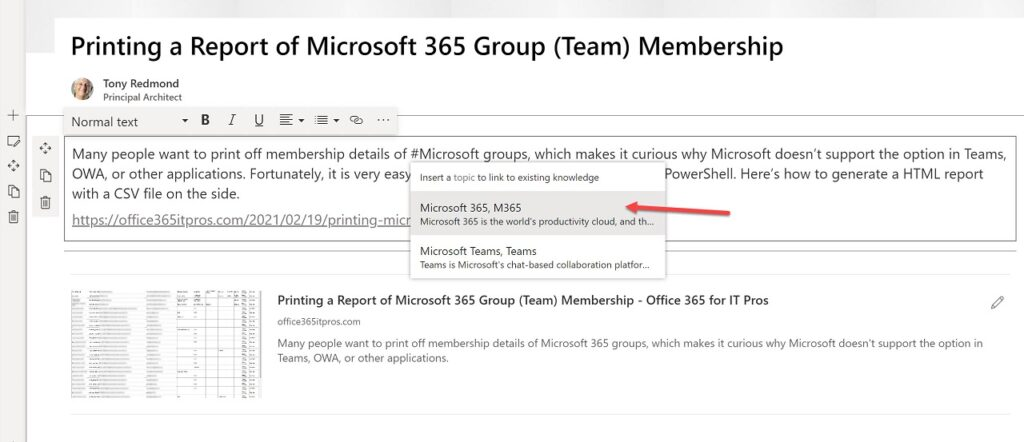 Adding a topic when composing a SharePoint Online news item