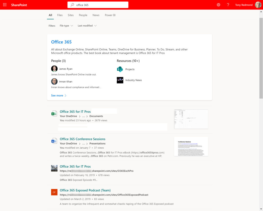 A topic appears in Microsoft 365 Search
