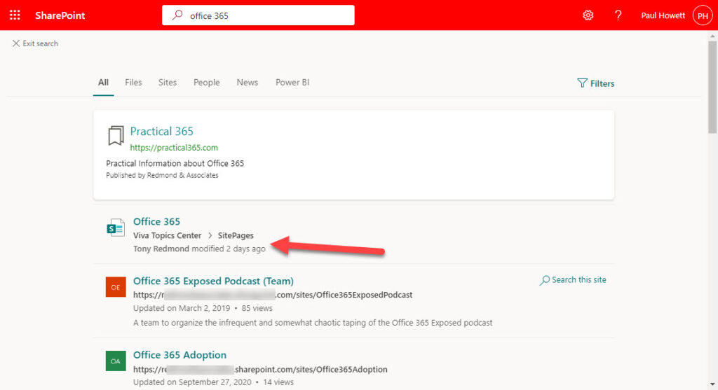 Search results for a user without a Viva Topics license excludes topic cards