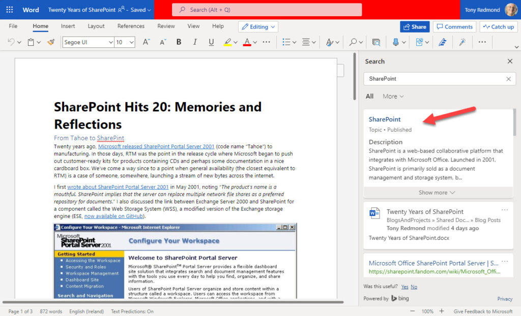 Topics show up in search in the Office online and desktop apps