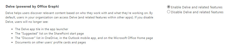 Disabling the Office Graph in the (classic) SharePoint Online admin center