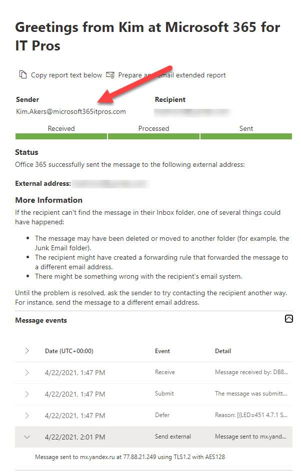 Message trace shows the sent email uses the proxy address