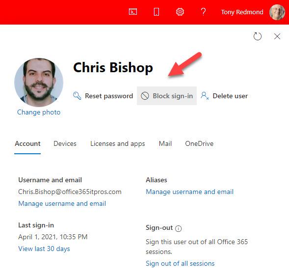 Blocking a user account in the Microsoft 365 admin center