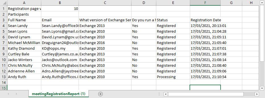 Registration report for a Teams webinar