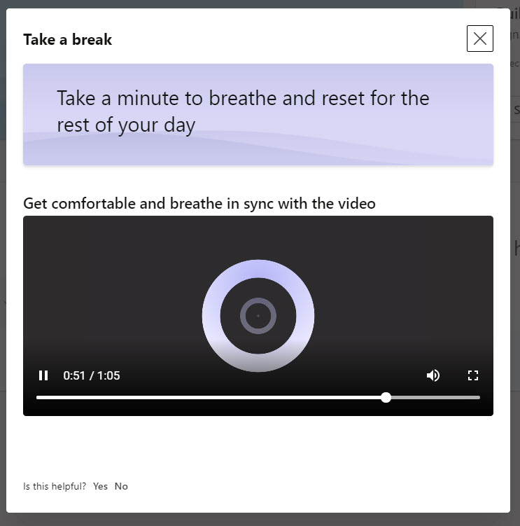 Viva Insights helps people to breathe and relax