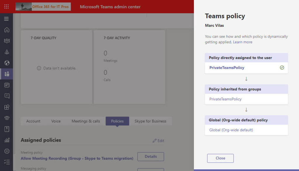 Precedence order for the Teams meeting policy applied to a user account