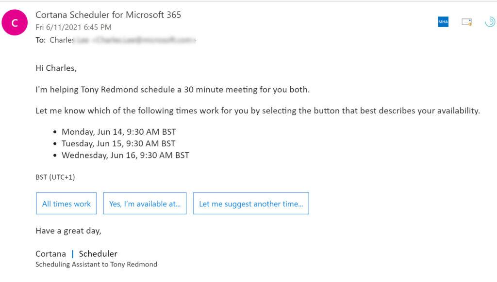 Cortana sends a meeting request to an external recipient