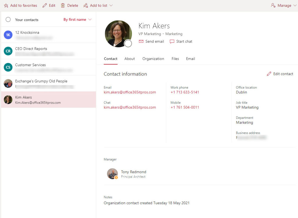 Organizational contacts created in a user mailbox
