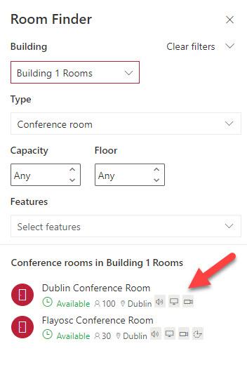 Room Finder displays room characteristics