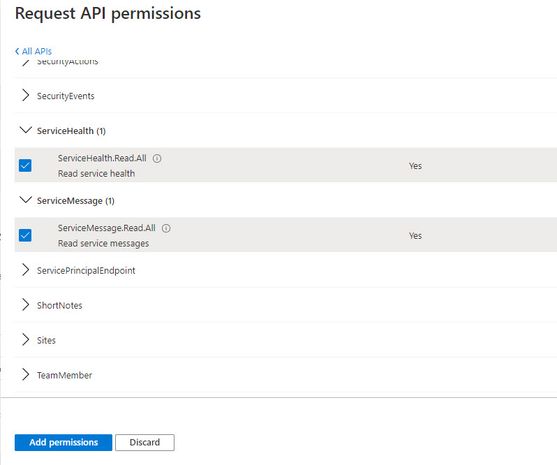 Assigning Graph permissions to an app registered in Azure AD