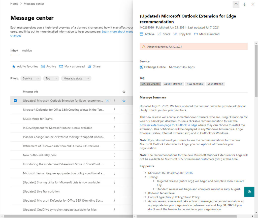 Service update messages in the Microsoft 365 admin center