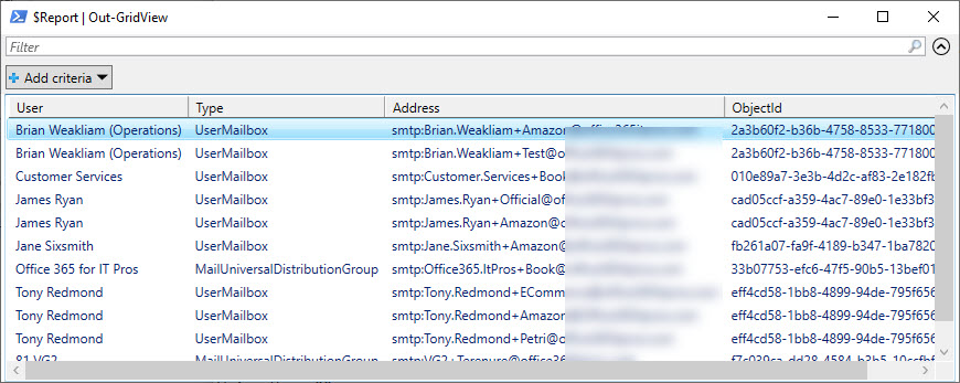 Reporting mail-enabled recipients with plus (proxy) addresses