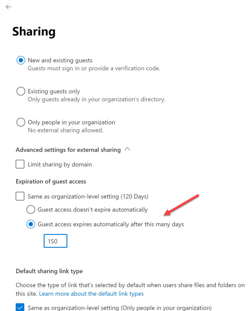 Configuring the guest expiration policy for a specific SharePoint Online site