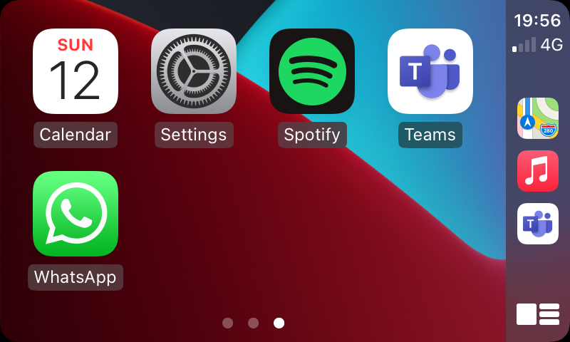 The Teams app showing on the Apple CarPlay screen in the vehicle
