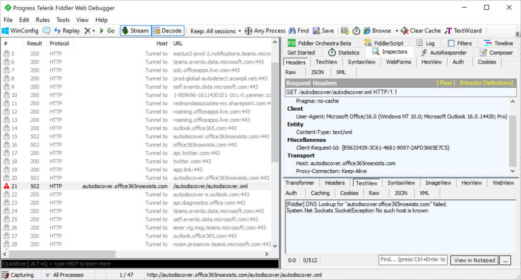 Fiddler trace of Autodiscover interactions reveals a failure