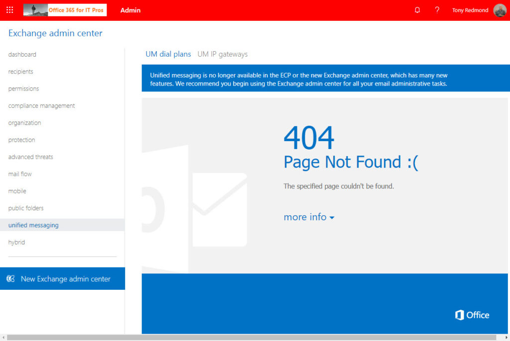 Selecting Unified Messaging in the old EAC delivers a 404 error