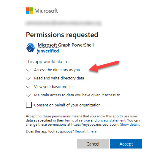 Azure AD prompts to grant consent for more permissions for the Graph SDK service principal