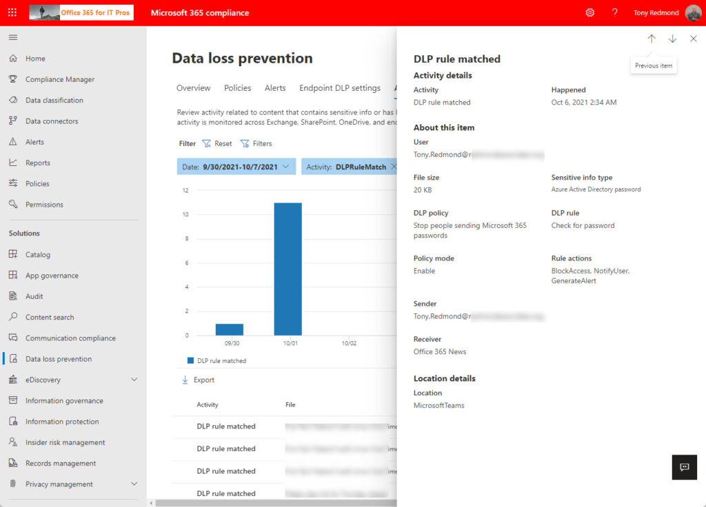 The Activity Explorer in the Microsoft 365 Compliance Center displays DLP rule matches