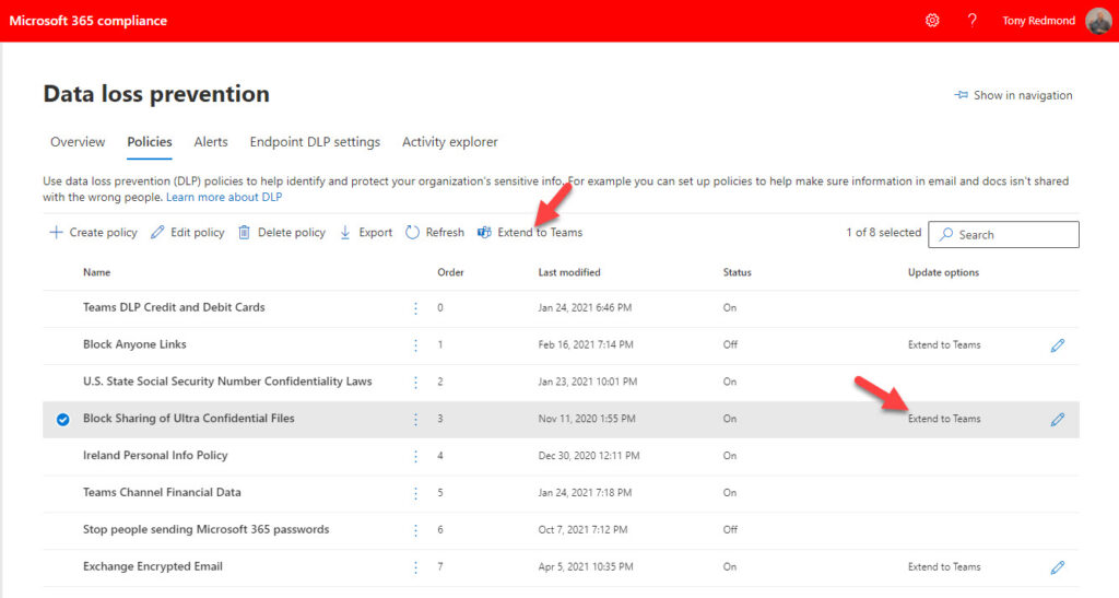 """The Compliance Center offers to """"extend"""" a DLP policy to Teams"""